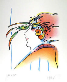 Peter Max, Lady with Feathers, Lithograph
