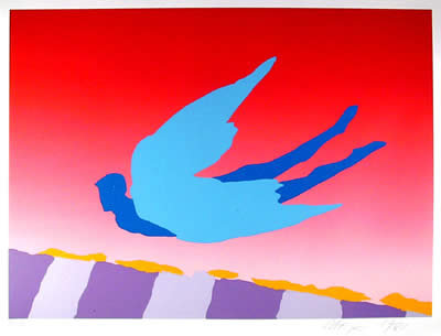 Peter Max, Pink Sky Flyer, Serigraph