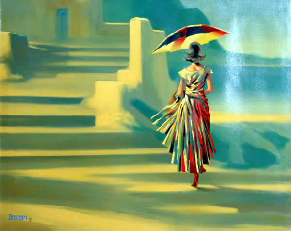 Bassari, Woman with Umbrella Spanish Painting