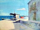 Bassari, Three Boats Seaside Spanish Painting