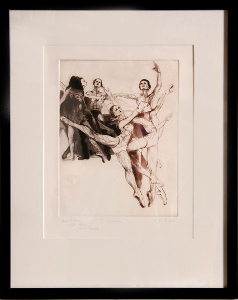 G.H. Rothe, Dancers, Framed Aquatint Etching