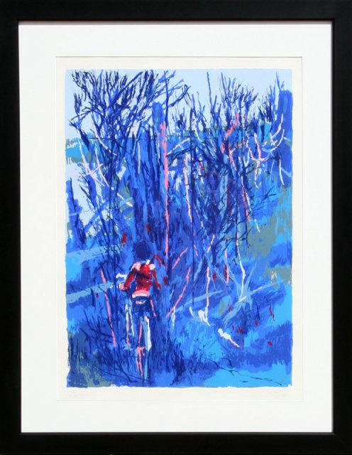 Nicola Simbari, Boy on Bicycle, Framed