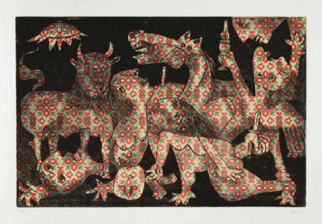 Enrico Baj, Chez Picasso 2, Aquatint Etching