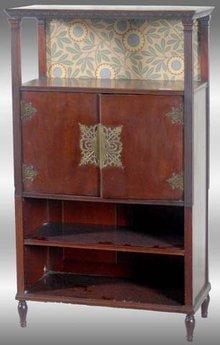 Herter Bros. Mahogany Japanesque Music Cabinet