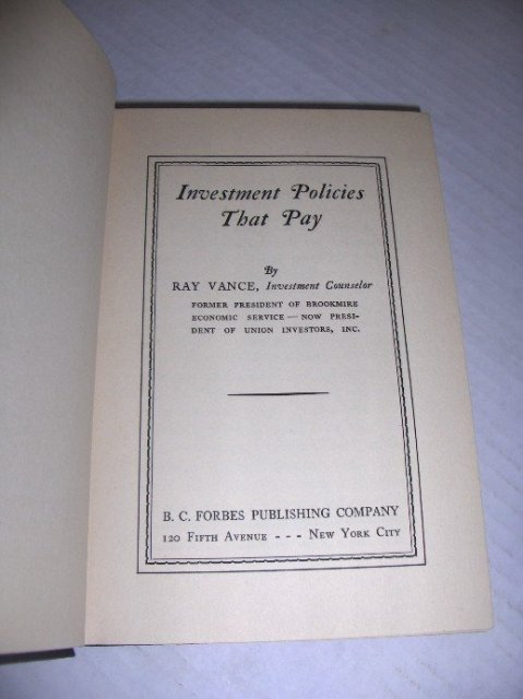 Investment policies that pay by Ray Vance - 1st edition