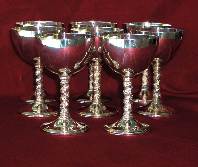Silver Plate Wine Goblets, Set of 8