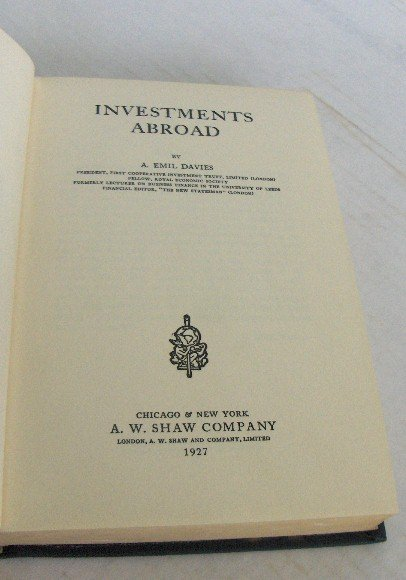 INVESTMENTS ABROAD BY EMIL DAVIES