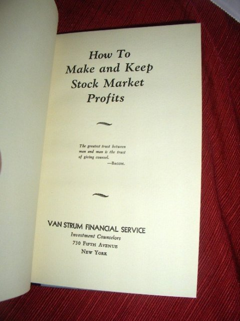 How to Make and Keep Stock Market Profits by Van Strum Financial Service