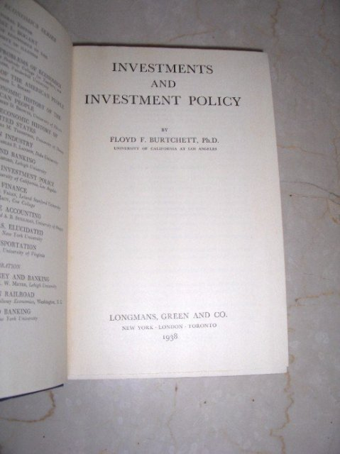 Investments and Investment Policy by Floyd F. Burtchett