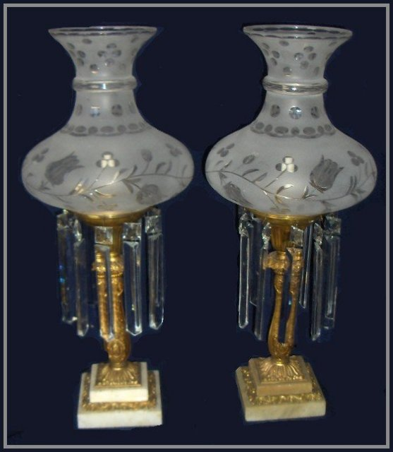 Pair of 19th Century Matching Astral Lamps