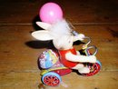 Celluloid Bunny on Tricycle Windup Toy