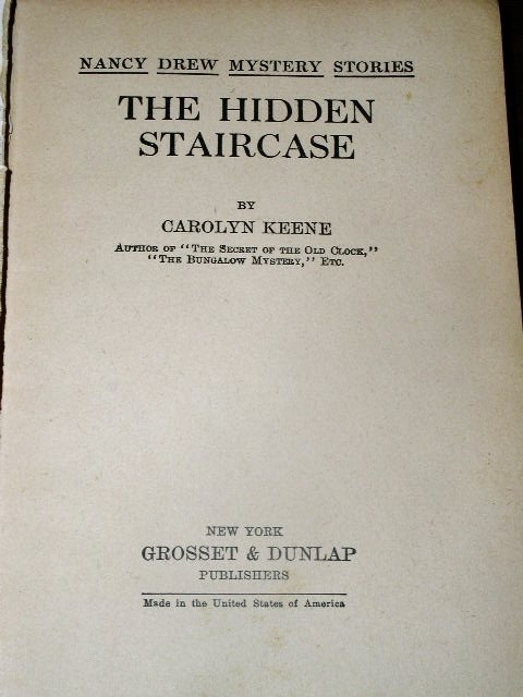 Nancy Drew, The Hidden Staircase, 1938,