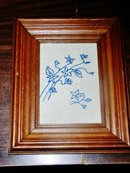 Blue & White Embroidered Floral Quilt Square Framed