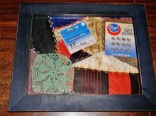 Crazy Quilt Square  w/Embroidery Framed