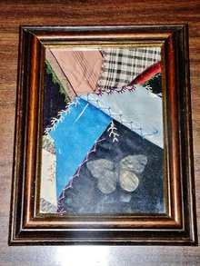 Crazy Quilt Square w/Embroidery, Framed