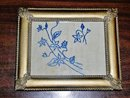 Blue Work Embroidery Quilt Square, Framed