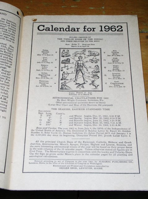 1962 Almanac from Darlings Minerals