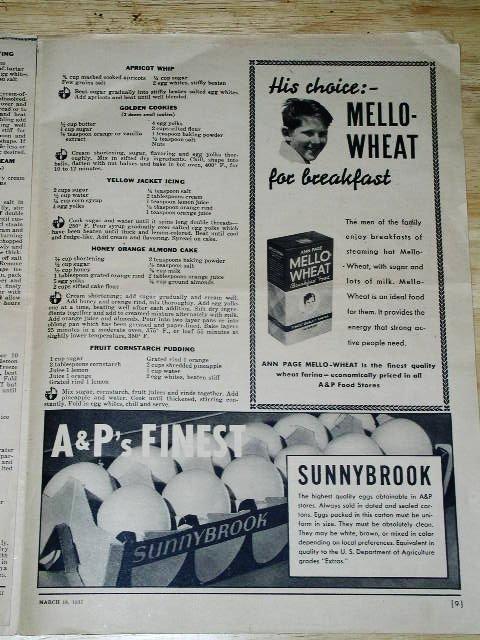 A & P Menu 3/18/1937   Cookbook  -  CK