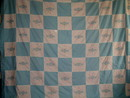 White & Blue Embroidered Quilt Top, 1940's -  QTP -