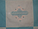 White & Blue Embroidered Quilt Top, 1940's -  QTP