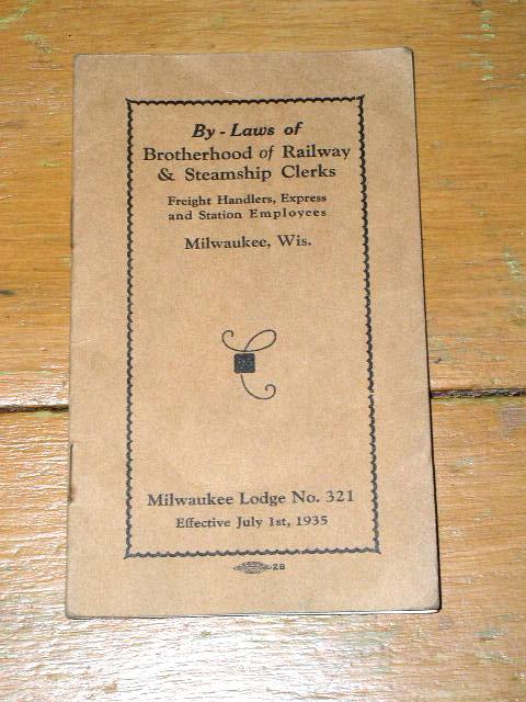 By-Laws of Brotherhood of Railway & Steamship Clerks Booklet