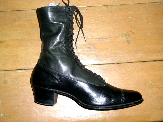Victorian Black Leather High Top Dress Shoes