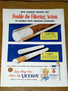 Viceroy Filter Tip  Cigarettes  Advertisement