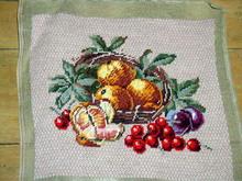 Needlepoint,  Basket and Fruit
