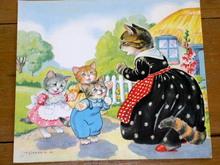 Nursery Rhyme Illustration, 1943, Three Little Kittens
