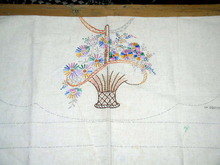Linen Apron w/Embroidered Flower Basket