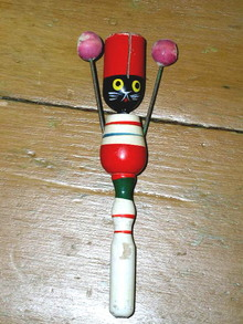Halloween Wooden Rattle With Cat Head