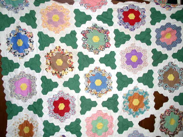 Grandmother's Flower Garden Quilt Top -  QTP