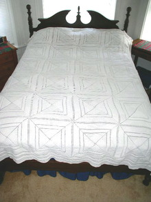 Crochet Cotton White Popcorn Bedspread