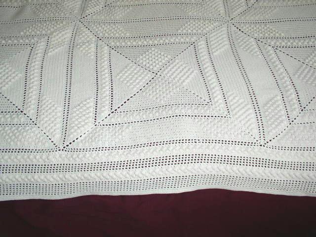 Crochet Cotton White Popcorn Bedspread