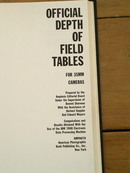 Depth of Field Tables for 35MM Cameras Book