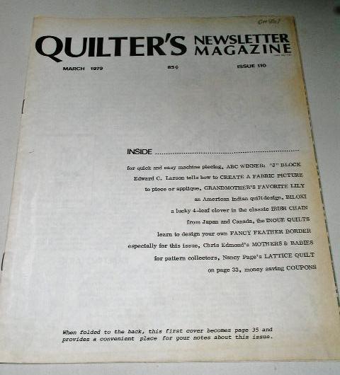 Quilter's Newsletter Magazine #110,  - QM