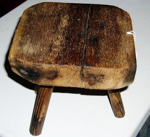 Wood Three Leg Milking Stool