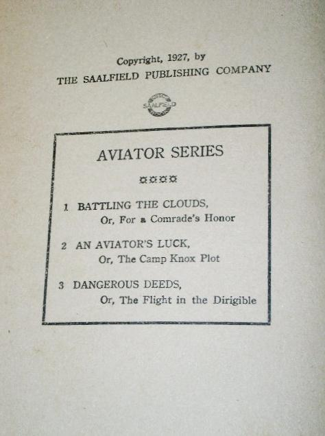 Dangerous Deeds, Aviator Series,