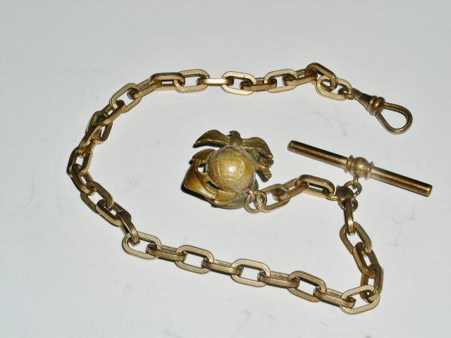 U.S. Marine Corps Watch Chain w/ Globe, Eagle, Anchor Pin