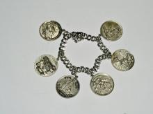 Vintage Sterling Historic/Military Charm Bracelet