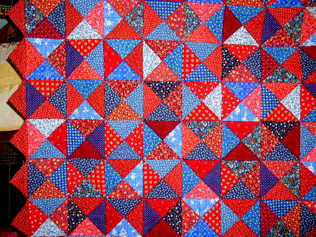 Blue & Red Triangles Scrap Quilt, Double Sided  -  QLT