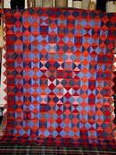 Blue & Red Triangles Quilt, Double Sided  -  QLT