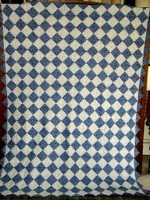 Blue & White Triangles Quilt, Double Sided  -  QLT