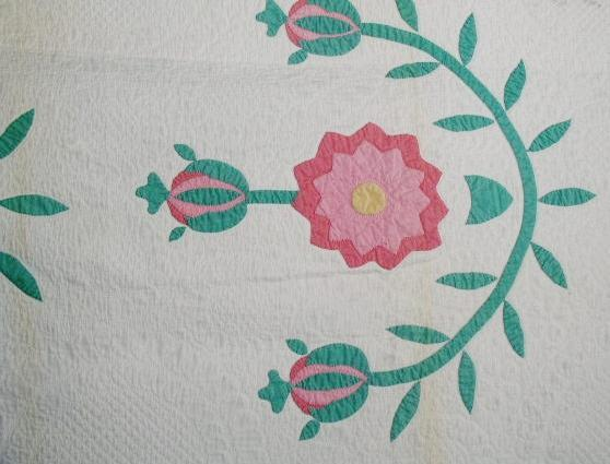 Pomegranate and Rose Appliqued Quilt  -   QLT