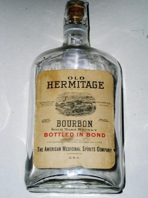 Old Hermitage Bourbon Bottle,  American Medicinal Spirits Co.