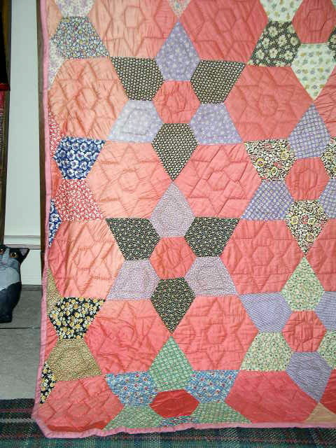 Hexagon Star Quilt, 1940's -  QLT