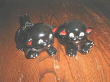 American Bisque Black Cat Planters  -  FG