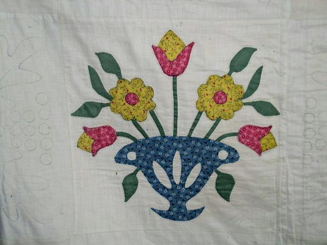 Floral Basket Appliqued Quilt -  QLT