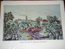 Currier & Ives - High Water in the Mississippi