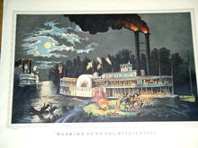 Currier & Ives - Wooding Up on the Mississippi